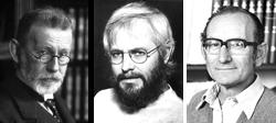 Three black and white portraits of scientists; doctors Erlich, Kohler and Milstein